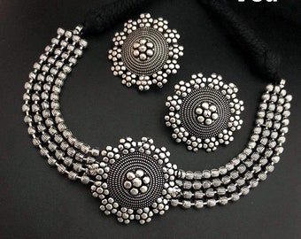 With Earrings necklace multistrand necklace set Fashion Red and Black Devi Silver Dholki Necklace Set and jhumkas,glass enamel work