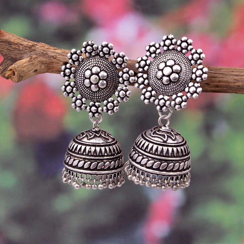 22a5b9997 Bollywood Trending Oxidized Silver Plated Dangle Drop Jhumka   Etsy