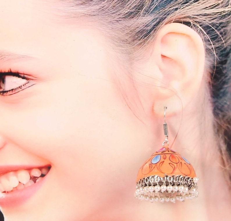 Oxidized Silver Plated Meenakari earrings Big Jhumka Jhumki jewellery for women #DST4
