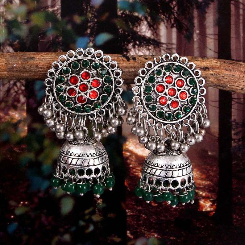 Bollywood Oxidized Gold Plated Colour Beads Jhumka Earring Women Jewelry Ethnic