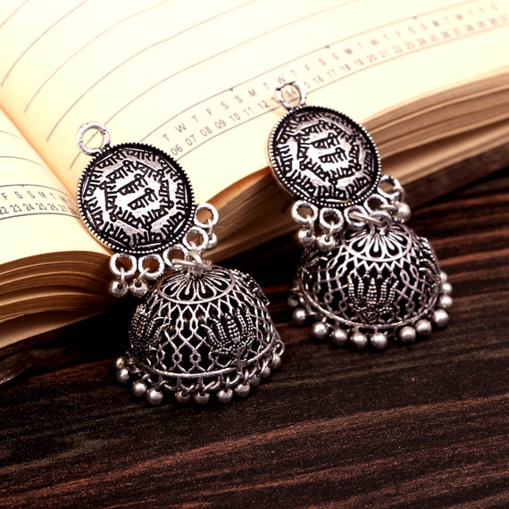 Bollywood Trending Oxidized Silver plated Handmade light weight lotus  design jhumka jhumki earrings for women Free Shipping #GS50