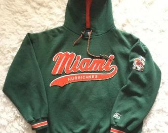 6e12cc638c84 Vintage Starter Miami Hurricanes Green Pullover Hoodie Sweatshirt Size  Large XL