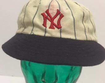 f5813490f29 Vintage Rare New York Yankees Roman Pin Striped Short Bill Wool Hat