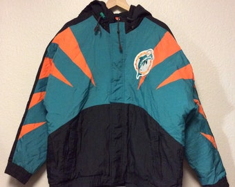Vintage 90 s Miami Dolphins NFL Pro Line Apex One Puffy Jacket Full Zip  Large 30f76e69d
