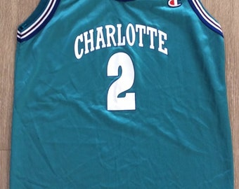 Vintage 90s Champion NBA Kids Jersey Charlotte Hornets Larry Johnson  2  Youth XL a58e65c24