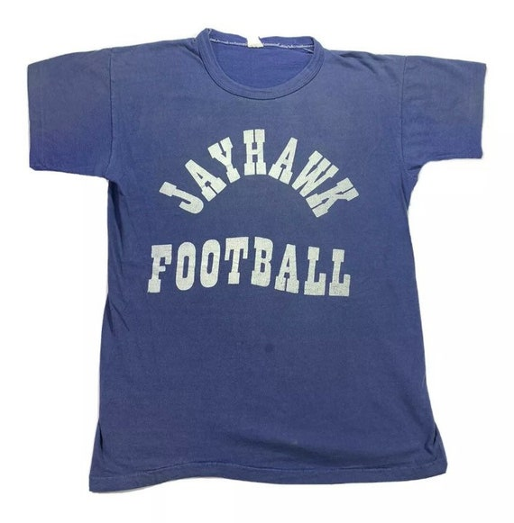 Vintage 60s 70s Kansas Jayhawks Football Blue T-Sh