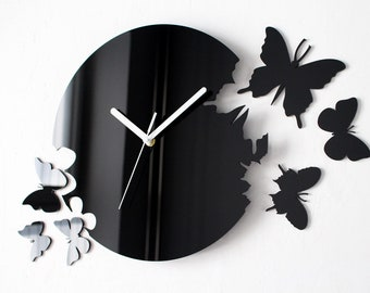 Simply Black Butterflies Clock - Modern Wall Clock