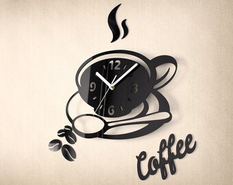 Kitchen Coffee Clock V2 - Modern Wall Clock