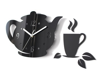 Kitchen Tea Time Clock - Modern Wall Clock