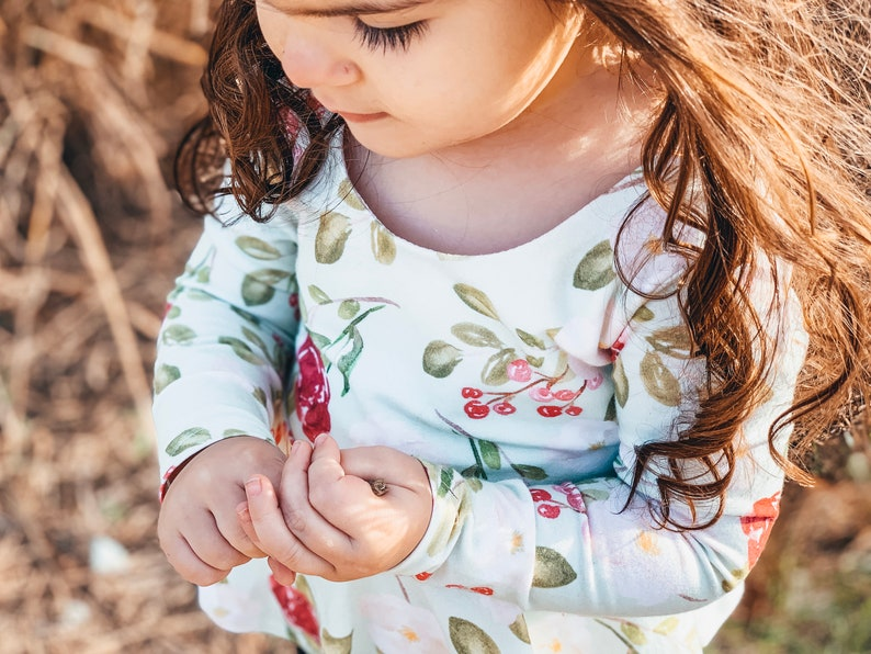 Baby Fall Clothes Childrens Christmas Twirl Shirt Winter Floral Peplum Top and Tunic for Toddler Girls