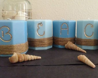 Light Blue and Dark Blue BEACH candle set - 5 candle set - Custom Candles - Hand painted