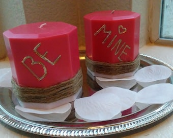Red and White Be Mine Candle Set - Pillar Candles - Custom Candle Set - Candle Set - Gift - Decor