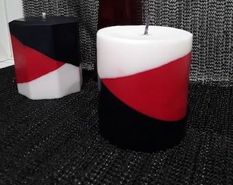 Red Black White Angled Pillar Candle Set   Candle Decor   Home Decor   Layered   Gift Idea