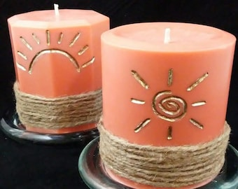 Orange Sun Candle Set - Pillar Candles - Scented and Unscented - Candle Decor - Home Decor