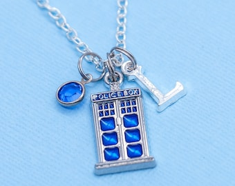 Personalized Initial Silver Custom Police Doctor who Police box Gift Box Necklace Birthstone Jewelry Letter