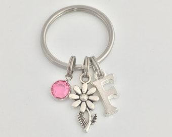 Flower Keyring, Swarovski Birthstone, Monogram Initial Letter Charm, Personalized Keychain, Flower, Key Chain, Daisy, Key Ring, Gift,