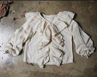 Cotton blend frilled shirt