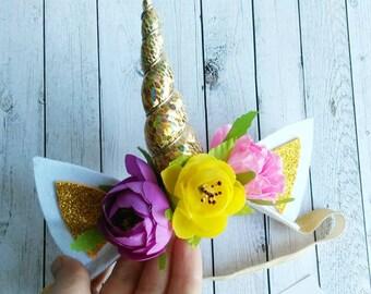 Unicorn headband for baby Gold unicorn pink purple yellow flowers Unicorn gift for girl Unicorn headpiece Horn Fairy Birthday flower crown