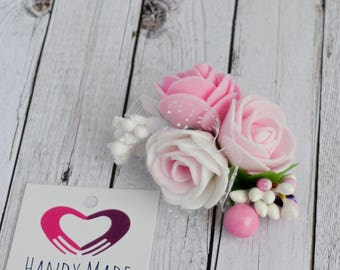 Clip with roses Pink roses on clips White roses on clips Clip with flowers Alligator clip for girl Alligator clip for wedding Spring Clips
