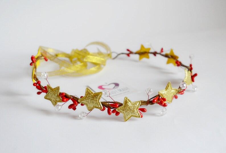 Bestbewertet echt kauf verkauf feinste Auswahl Goldenes Stirnband Tiara Kranz mit goldenen Sternen, roten Beeren und  Kristallperlen für Mädchen und erwachsene Frauen. Weihnachtsfeiertag ...