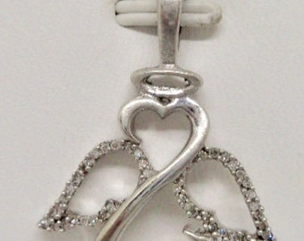c86303316 Jane Seymour Sterling Silver 925 Natural Diamond Angel Wings Open Heart  Pendant
