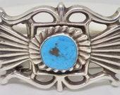 Signed Navajo Sand Cast Sterling Silver Turquoise Ornate Belt Buckle