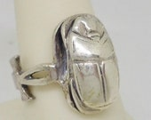 Vintage Egyptian Ankh Cross Scarab Beetle Sterling Silver Ring