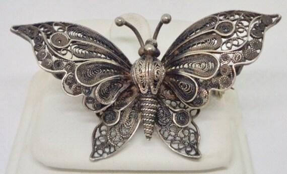 800 Silver Victorian Antique Filigree Ornate Insec