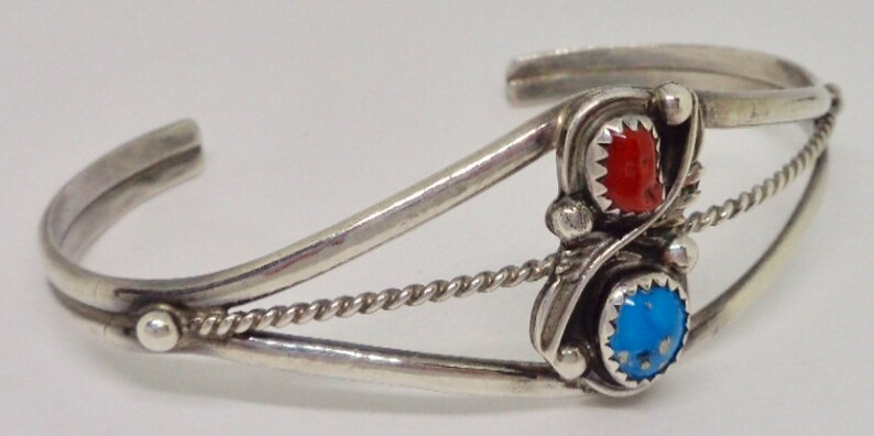 Navajo Sterling Silver Turquoise Coral Signed Betty Bitsie Cuff Bracelet