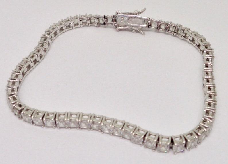Sterling Silver 11.4 ctw CZ Cubic Zirconia Tennis Illusion Bracelet