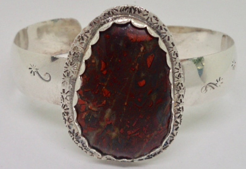 Navajo JR Sterling Silver Jasper Stamp Work Cuff Bracelet