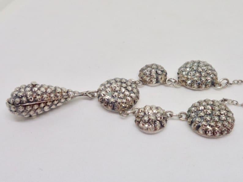 Art Deco Sterling Silver Fringe Antique Dangle Necklace 15.5