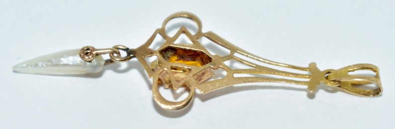 Antique 10K Citrine /& Houndstooth Pearl Lavaliere Pendant