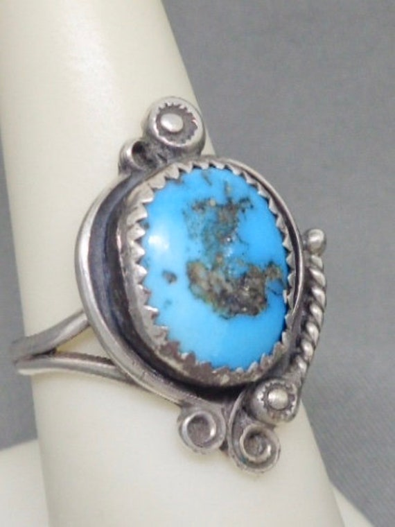 Old Pawn Signed FPB Navajo Turquoise Silver Ring