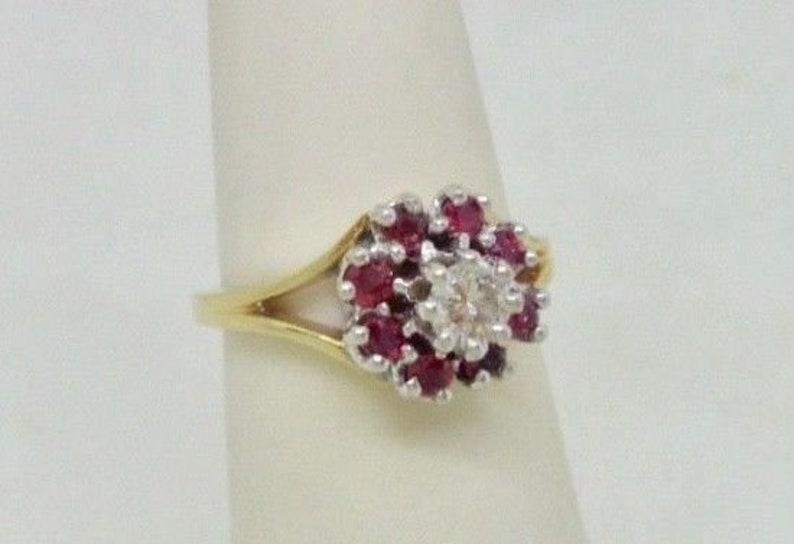 Halo 14K Yellow /& White Gold .34 ctw Natural Diamond Ruby Ring Size 4.5