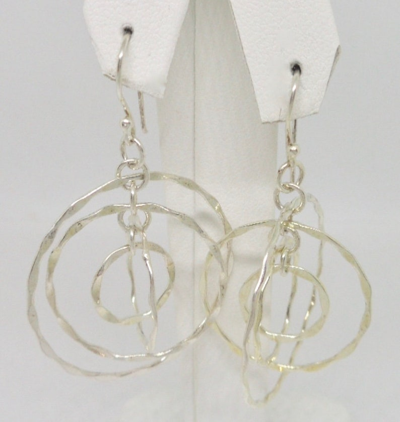 New Old Stock Indigo Sterling Silver Triple Hoop Dangle Earrings