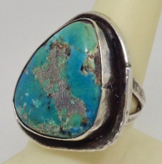 Old Pawn Sterling Silver Solitaire Turquoise Ring
