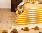 Beautiful Moroccan Pompom Blanket , Bed Cover White and Mustard Stripes