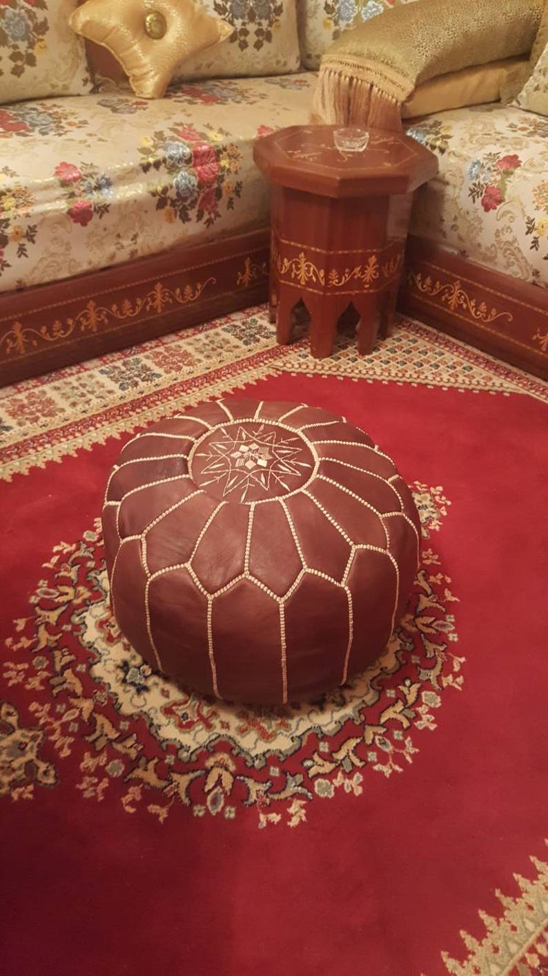 wedding gifts Ottoman Leather Pouf brown home decor ottoman moroccan Set of 2 Genuine Leather Moroccan Pouffe Pouf