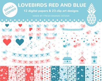 Small Combo: Love Birds Digital Paper + Bird Clip Art, Red and Blue, Banner Clipart, Heart, Birdhouse, Love Letter, Valentines, Vector, SVG