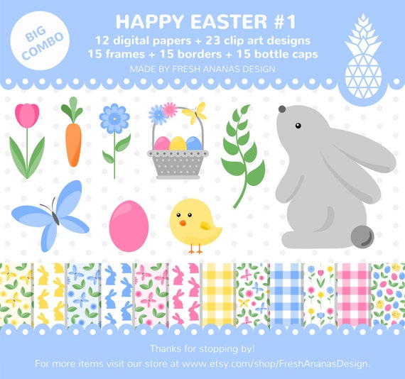 Big Combo: Happy Easter 1 Digital Papers Clipart Frames   Etsy