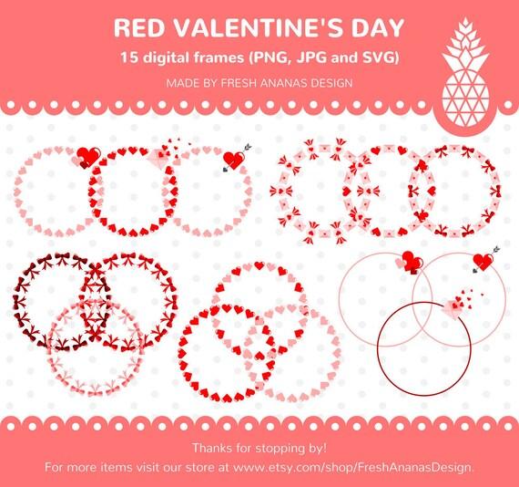 Valentines Digital Frames Hearts Frames Red Frame Clip Art | Etsy