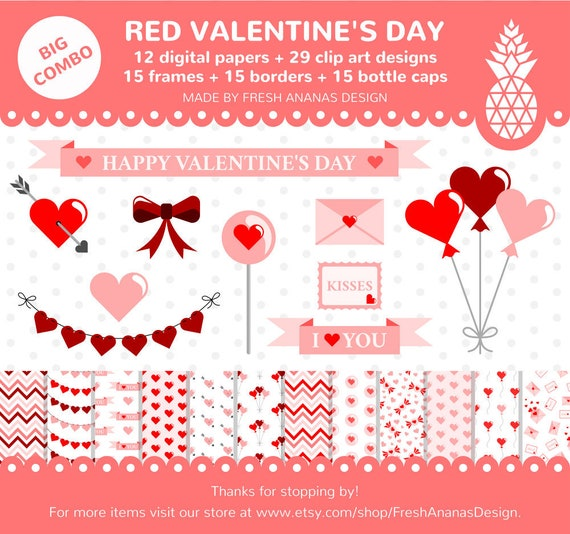 Big Combo: Valentines Digital Papers Clipart Frames | Etsy