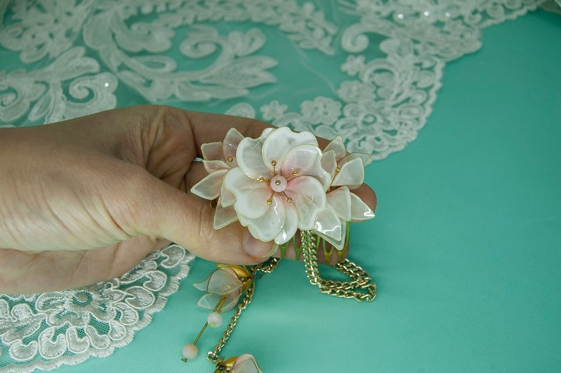 tender resin sakura boho blossom hair Pink floral bridal Art Nouveau haircomb with natural pink opal beads /& removable pendants on a chain