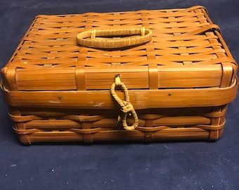 Handwoven, Split-Bamboo, Lidded Basket, Made in OCCUPIED JAPAN