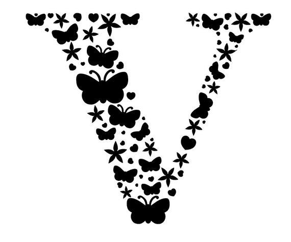 Initial V Cut File Monogram V Svg Letter V Svg File Dxf Etsy