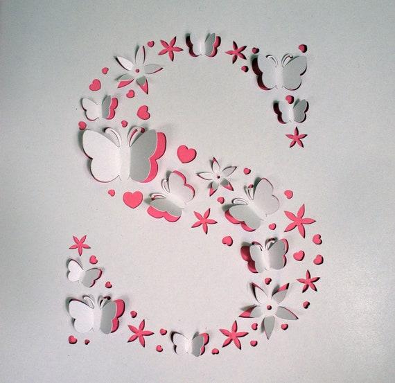 Papercut initial C file,letter C cut file,papercut,svg,dxf,png,pdf,eps,Cricut file,Silhouette,nursery cut file,instant download,wall art