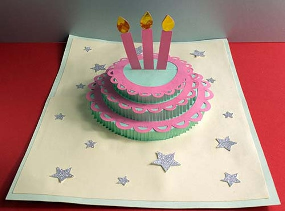 Birthday Cake Card Svg Filehappy Birthdaycut Filepop Up Etsy