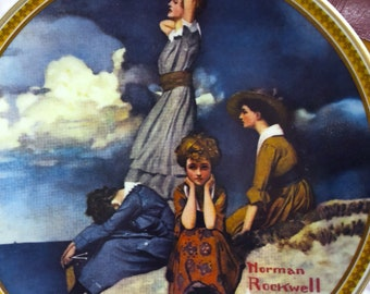 Waiting on the Shore by Norman Rockwell the Only Edition by Knowles A Collector's Plate. The 2nd in a the Series Rediscovered Women