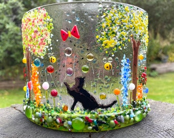 Cat, Bees, flowers and cherry blossom curve-candle curve-cat playing in flower meadow
